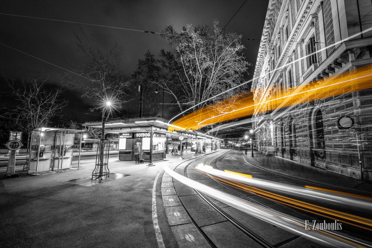 At The Speed Of Light, Austria, Bahn, Bellariastraße, Chromakey, Colorkey, Dark, Dunkel, EZ00826, Fine Art, FineArt, Gelb, Licht, Light Trails, Nacht, Night, Speed, Traffic, Trails, Tram, Vienna, Wien, Yellow, Zouboulis, burgring, karl renner ring, stadtwerke, wiener linien, zouboulis photography, Österreich