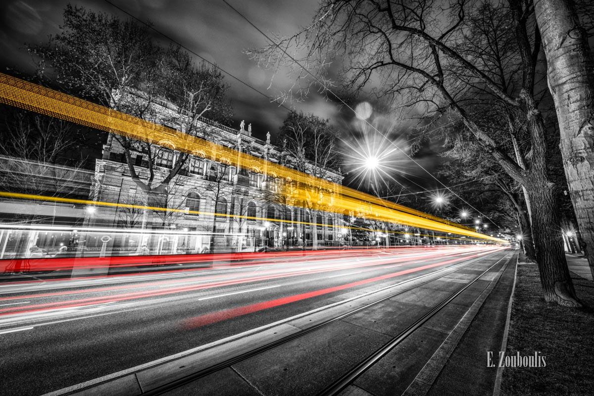At The Speed Of Light, Austria, Bahn, Chromakey, Colorkey, Dark, Dunkel, EZ00828, Fine Art, FineArt, Gelb, Licht, Light Trails, Museum, Nacht, Night, Rot, Speed, Traffic, Trails, Tram, Vienna, Wien, Yellow, Zouboulis, burgring, kunsthistorisches museum, kunstmuseum, red, stadtwerke, wiener linien, zouboulis photography, Österreich