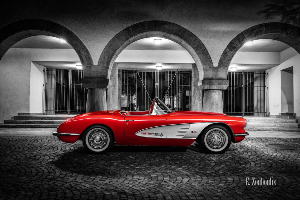 1961, Automotive, Böblingen, Cabrio, Cars, Chromakey, Colorkey, Deutschland, Dunkel, EZ00844, Fine Art, FineArt, Germany, Licht, Marktgasse, Motorworld, Nacht, Night, Rathaus, Rot, Zouboulis, c1, cabriolet, chevrolet, convertible, corvette, corvette c1, red, zouboulis photography
