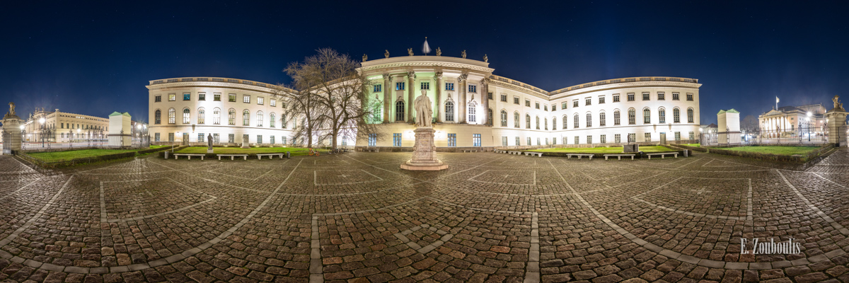 Berlin Humboldt Universität Panorama - 360 Grad Fotografie an der Humbold Universität Berlin bei Nacht